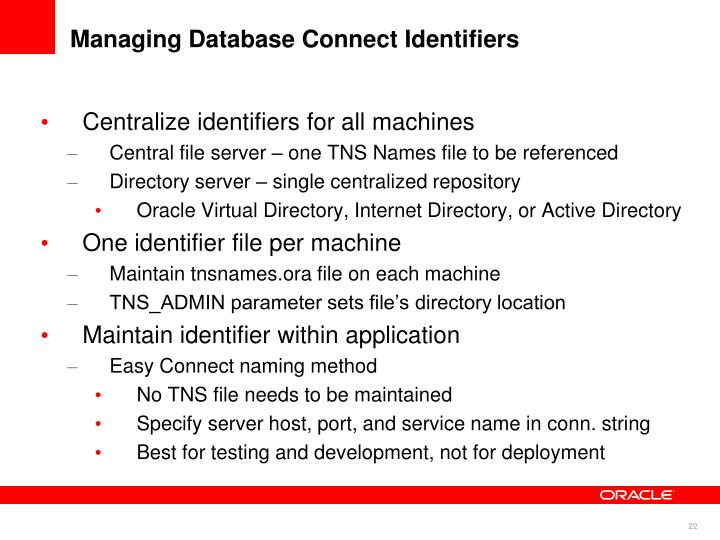 Managing Database Connect Identifiers