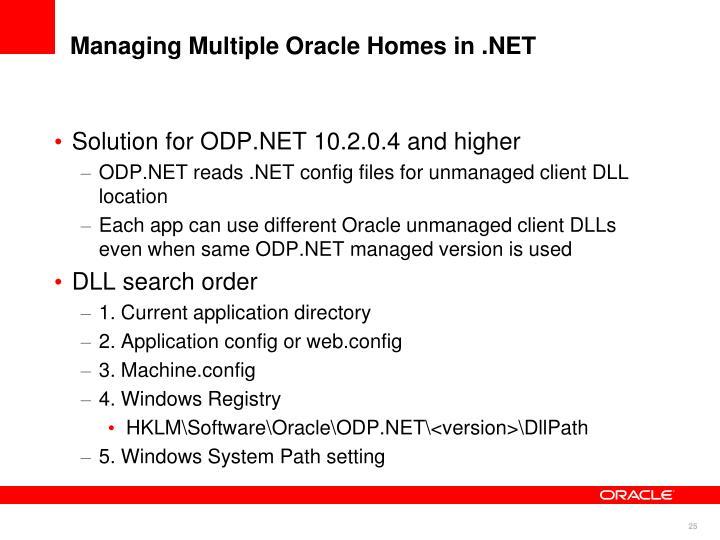 Managing Multiple Oracle Homes in .NET
