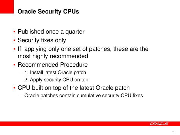Oracle Security CPUs