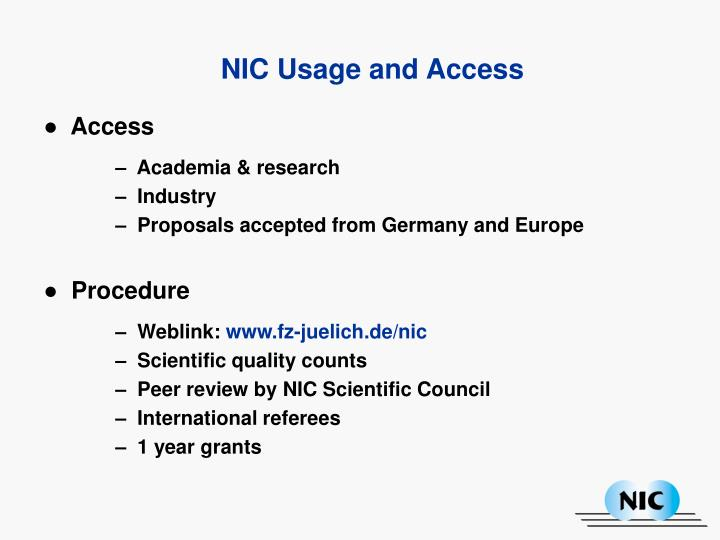 NIC Usage and Access
