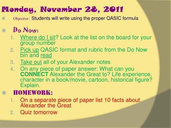 monday november 28 2011 n.