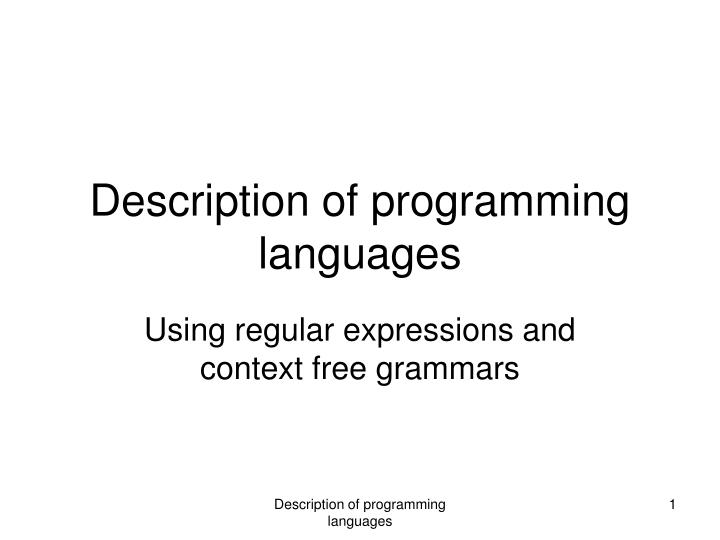 description of programming languages n.