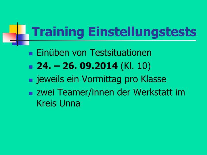 Training Einstellungstests