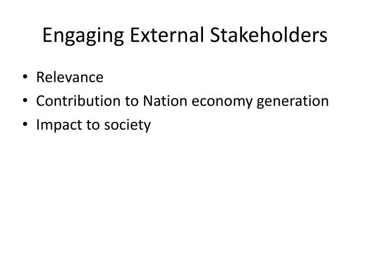 Engaging external stakeholders