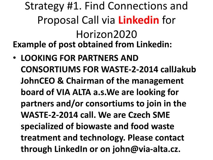 Strategy #1. Find Connections and Proposal Call via