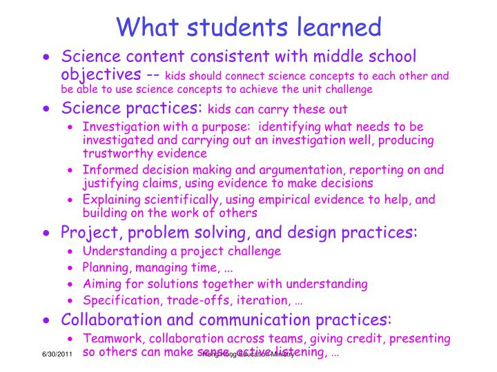 What students learned