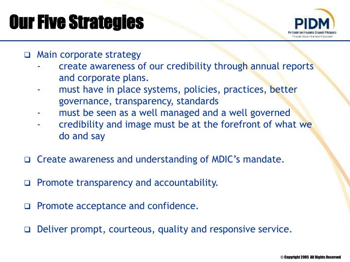 Our Five Strategies
