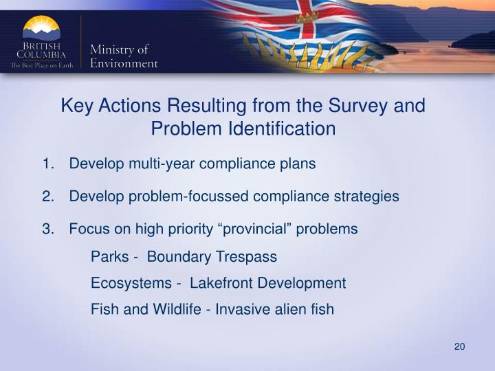 Key Actions Resulting from the Survey and Problem Identification