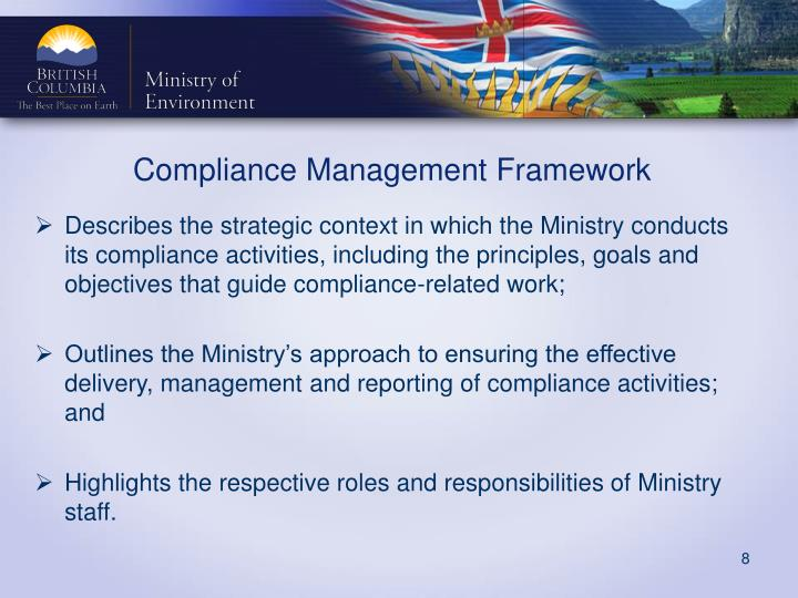 Describes the strategic context in which the Ministry conducts its compliance activities, including the principles, goals and objectives that guide compliance-related work;