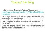 staging the song