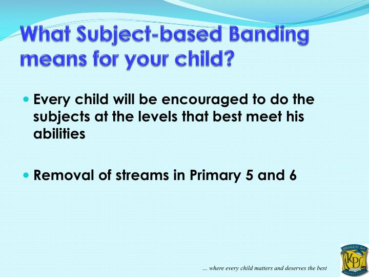 What Subject-based Banding means for your child?