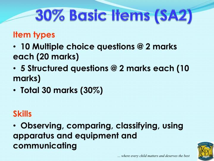 30% Basic Items (SA2)