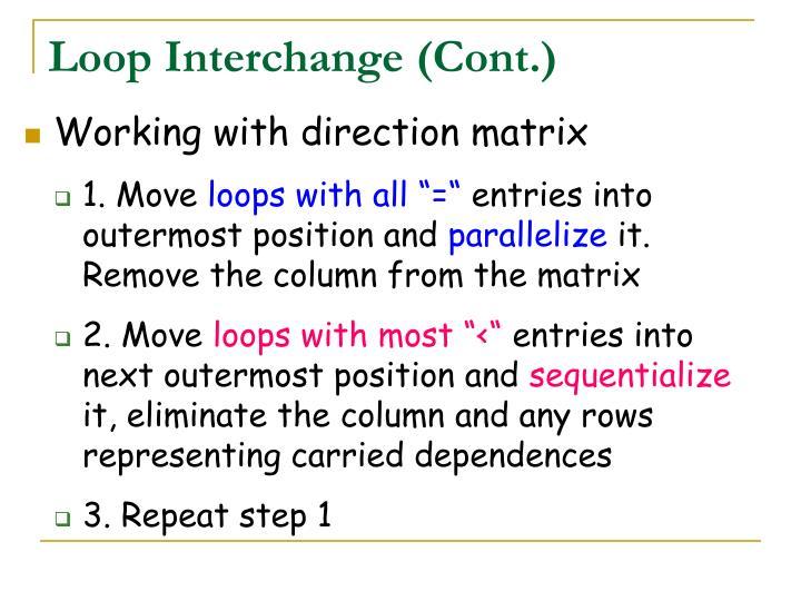 Loop Interchange (Cont.)