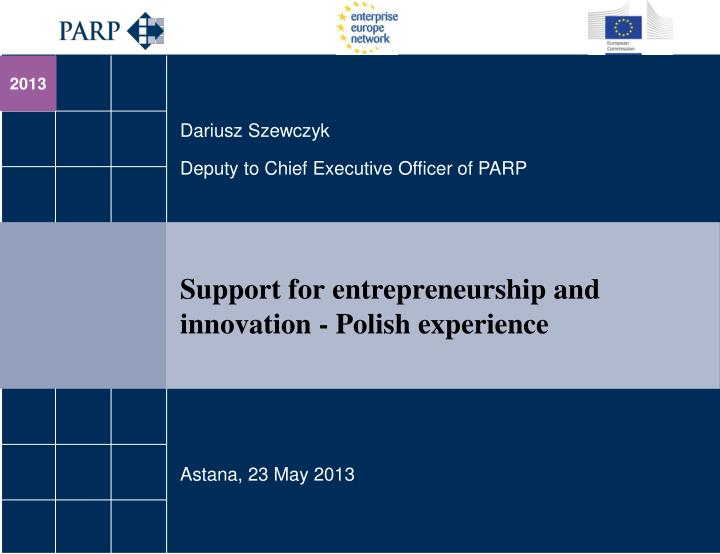 support for entrepreneurship and innovation polish experience n.