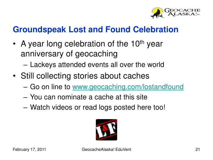 Groundspeak Lost and Found Celebration