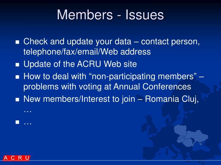 Members - Issues