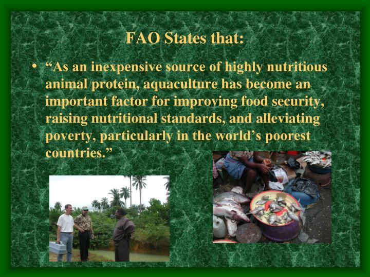 FAO States that: