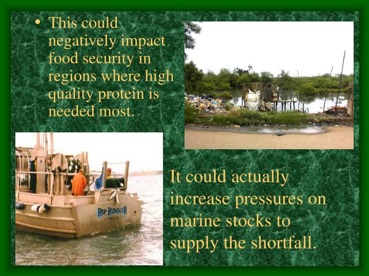 This could negatively impact food security in regions where high quality protein is needed most.