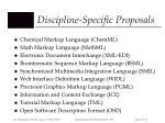 discipline specific proposals
