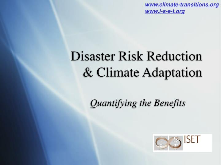 disaster risk reduction climate adaptation n.