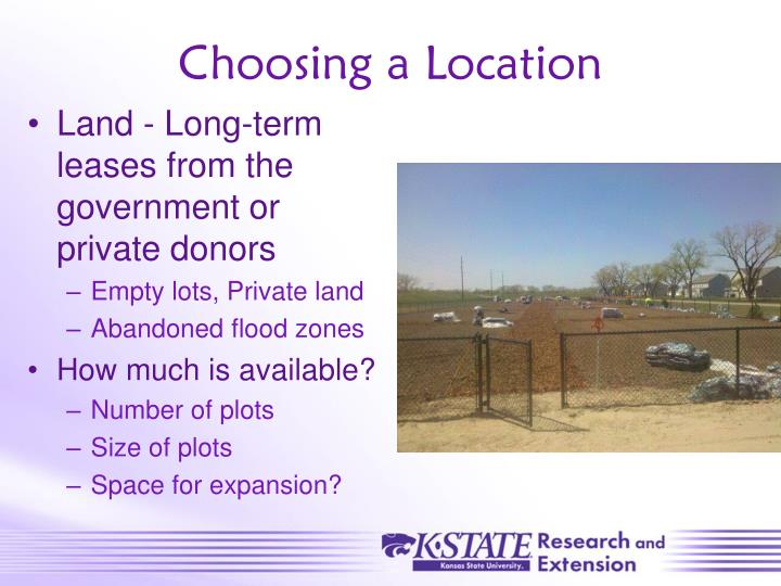 Choosing a Location