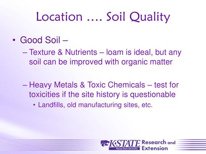 Location …. Soil Quality