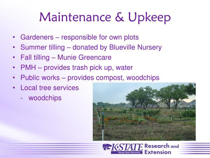 Maintenance & Upkeep