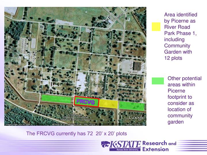 Area identified by Picerne as River Road Park Phase 1, including Community Garden with 12 plots