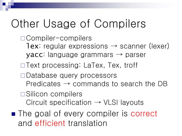 Other usage of compilers