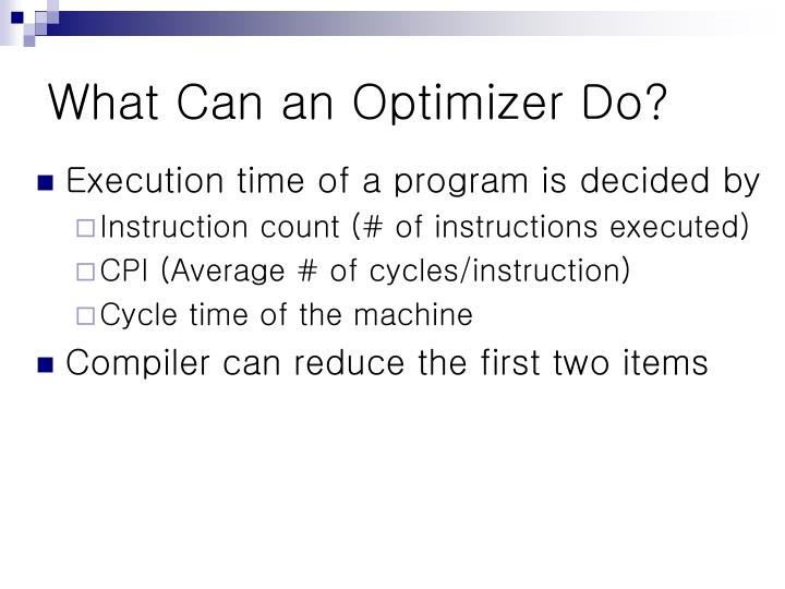 What Can an Optimizer Do?