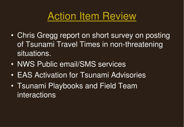 Action item review