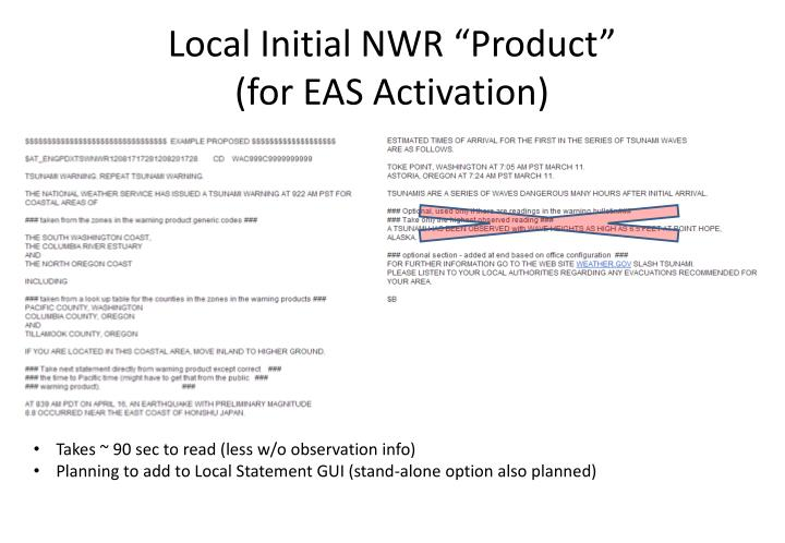 """Local Initial NWR """"Product"""""""
