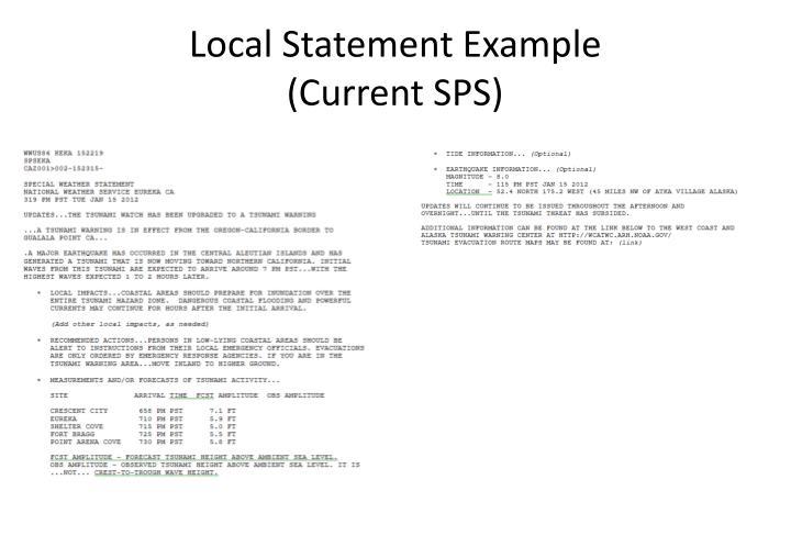 Local Statement Example