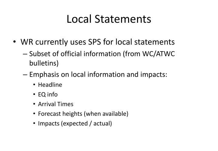 Local Statements