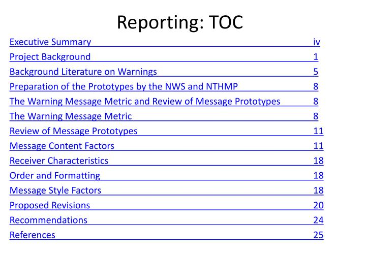 Reporting: TOC