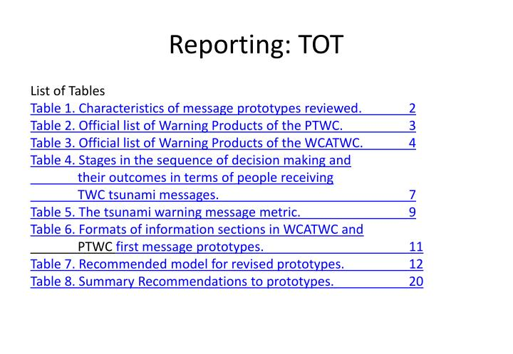 Reporting: TOT