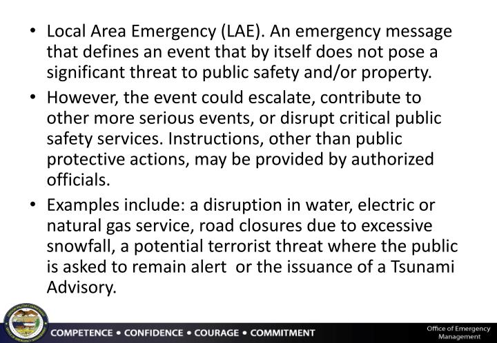 Local Area Emergency (