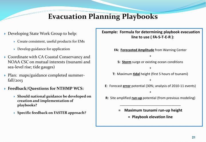 Evacuation Planning Playbooks
