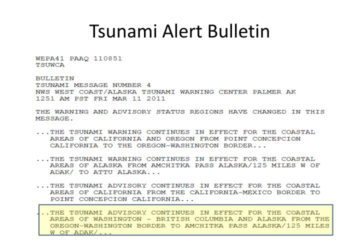 Tsunami Alert Bulletin