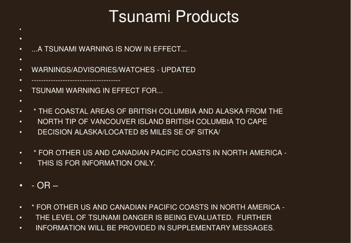 Tsunami Products