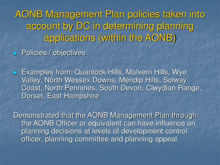 AONB Management Plan policies taken into account by DC in determining planning applications (within the AONB)
