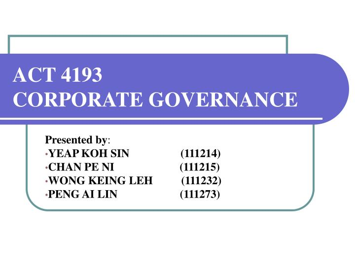 act 4193 corporate governance n.