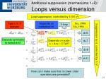 additional suppression mechanisms 1 2 loops versus dimension