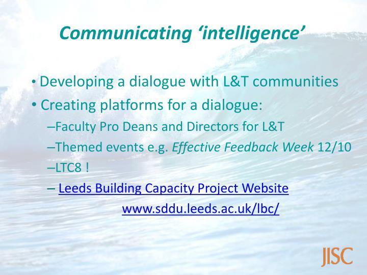 Communicating 'intelligence'
