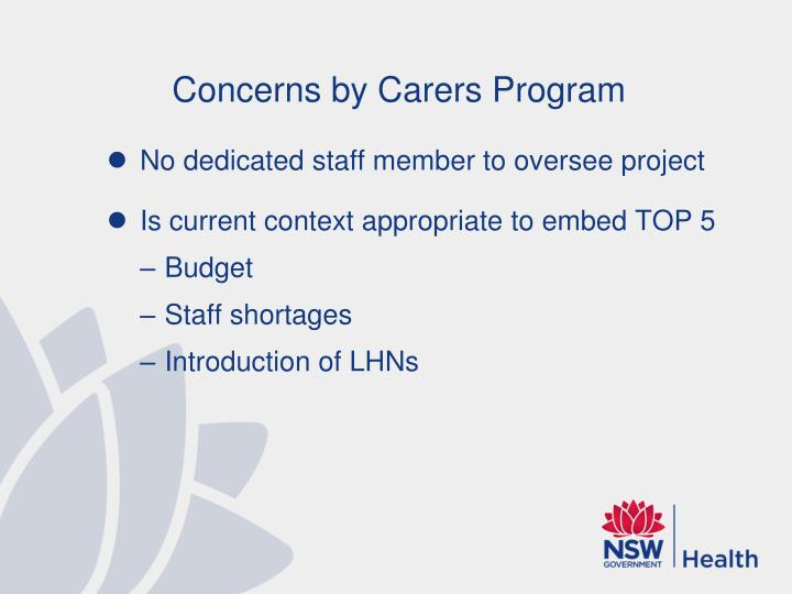 Concerns by Carers Program