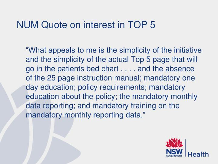 NUM Quote on interest in TOP 5