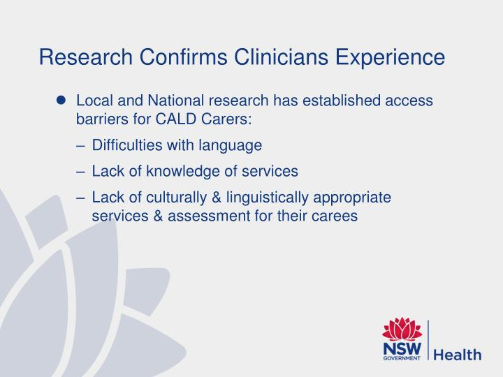Research Confirms Clinicians Experience