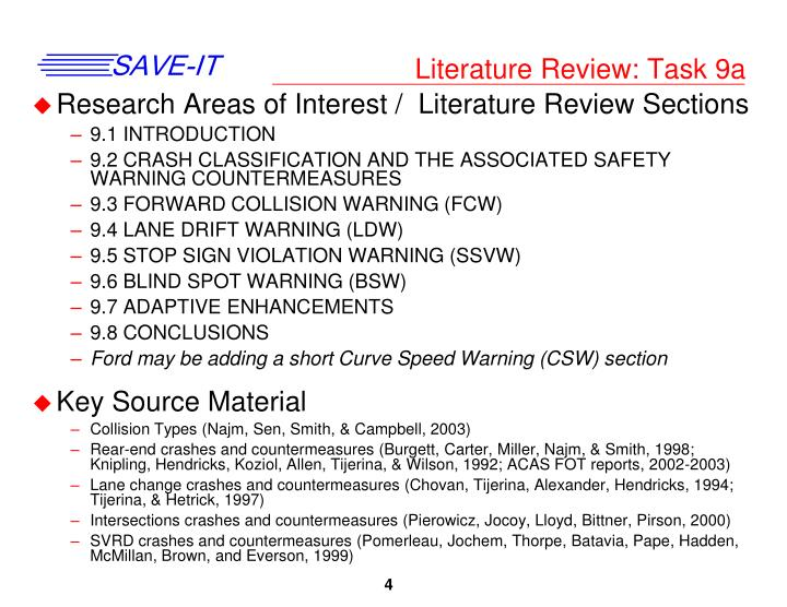 Literature Review: Task 9a