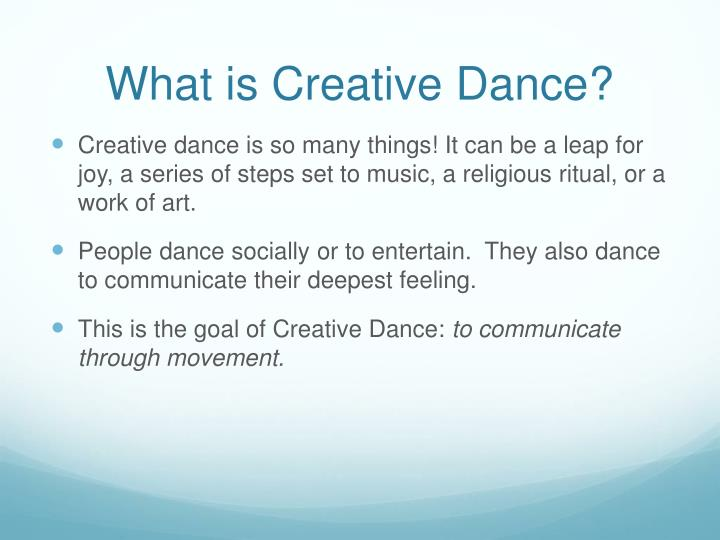 What is creative dance