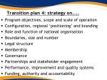 transition plan 4 strategy on